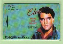 """New Zealand - 1993 Music Legends $5 Elvis Presley """"Heart"""" - NZ-D-7 - Mint - Musik"""