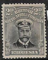 Southern Rhodesia B.S.A.Co., GVR, 1913, Admiral, 2d Black & Grey, Die I, Perf 14, Unused, No Gum, No Cancel - Southern Rhodesia (...-1964)