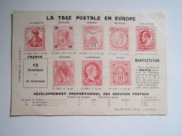 CARTE PETITION TIMBRE  La Taxe Postale En Europe Pétition Pour Le Prix Du Timbre à 10 Centimes - Timbres (représentations)