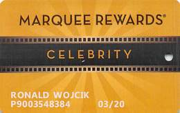Marquee Rewards Casino Slot Card Multiple Locations In USA - 8 Logos On Reverse With 'R' Over Mag Stripe - Casino Cards