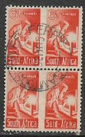 South Africa,1942, War Effort, Small, 6d, Welder, Two Units, Used, GAMTOOS RIVER FERRY 1 SEP 45, C.d.s. - South Africa (...-1961)
