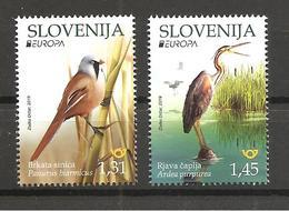 SLOVENIA  2019,EUROPA CEPT,NATIONAL BIRDS,BEARDED REEDING,PURPLE HERON,PANTARUS,ARDEA,FAUNA,VIGNETTE,, MNH - 2019