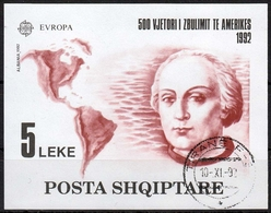 Albanien MiNr. Bl. 97 O Europa: 500. Jahrestag Der Entdeckung Von Amerika - Albanien