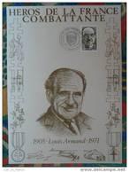 Encart Sur Soie AMIS Tirage 750 Ex Louis Armand Cruseilles Haute Savoie - Seconda Guerra Mondiale