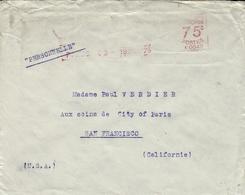 1925- Enveloppe De Paris Pour San Francisco Affr. Machine A 0043 à 75 C. - Marcophilie (Lettres)