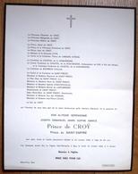 Faire-part Du Décès De SAS Joseph Prince De CROY Prince Du Saint-Empire. - Spa, 1958. - Décès