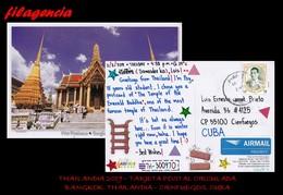 ASIA. THAILANDIA. ENTEROS POSTALES. TARJETA POSTAL CIRCULADA 2019. BANGKOK. THAILANDIA-CIENFUEGOS. CUBA. ARQUITECTURA - Tailandia