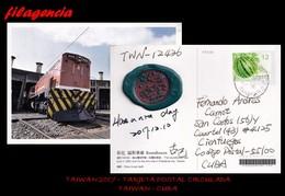 ASIA. TAIWAN. ENTEROS POSTALES. TARJETA POSTAL CIRCULADA 2017. TAIWAN-CUBA. FRUTOS. TRENES. POSTAL CON SELLO DE LACRE - 1945-... República De China