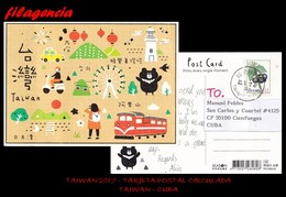 ASIA. TAIWAN. ENTEROS POSTALES. TARJETA POSTAL CIRCULADA 2017. TAIWAN-CUBA. FRUTOS. TRENES. MOTOCICLETAS. FAROS. TAXIS - 1945-... República De China