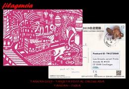 ASIA. TAIWAN. ENTEROS POSTALES. TARJETA POSTAL CIRCULADA 2019. TAIWAN-CUBA. PECES. TRENES - 1945-... República De China