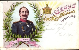 Lithographie 39. Geburtstag Kaiser Wilhelm II. - Familles Royales
