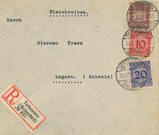 R-Brief Tiefenstein Birkenfeld 1924 Nach Lugano Bernhard Edelstein Schleiferei - Allemagne