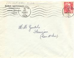 VIERZON CHER OMec RBV BLOC DATEUR 4 LIGNES - 5 LIGNES ONDULÉES Du 19 MARS 51 - En-tête ECOLE NATIONALE HENRI-BRISSON - Poststempel (Briefe)