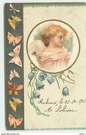 N°11994 - Portrait D'un Ange Dans Un Médaillon - Papillons Sur Fond Gris - Clapsaddle - Engel
