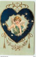 N°11999 - Carte Gaufrée - Cupidon Dans Un Coeur - Clapsaddle - Engel