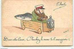 N°12024 - 1er Avril - Dans Votre Coeur Cherchez Le Nom De L'envoyeur - Caisse Sur Roue - 1° Aprile (pesce Di Aprile)