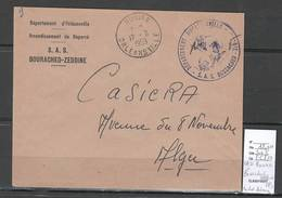 Algerie -Lettre - Cachet FM BOURACHED ZEDDINE SAS + Cad ROUINA - Marcophilie - Algérie (1924-1962)