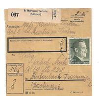 III-OM072 / 3.-Reich Pakekarte An St. Martin In Tuchheim (Kärnten) Mit Mi. 799B + 2 Weiteren Marken - Deutschland