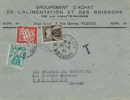1944- Env. à En-tête Ouverte  De Vesoul ( Haute Saône ) Non Affr. TAXEE à 2,40 F ( Double Taxe ) - Marcophilie (Lettres)