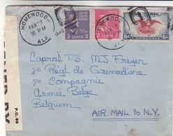 Etats Unis - Lettre De 1940 - Oblit Homewood - Exp Vers La Belgique - Armée Belge - Avec Censure - Oiseaux - Etats-Unis