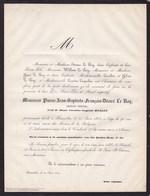 BRUXELLES Pierre Jean-Baptiste  LE ROY Veuf HELLIN Artiste-peintre 90 Ans 1862  QUEPSCHEN - Décès
