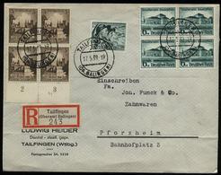WW II DR 3 Pfg Breslau + 6 Pfg Gautheater 4 Er Block Briefmarken MiF Auf R - Briefumschlag : Gebraucht Tailfingen - Pf - Briefe U. Dokumente