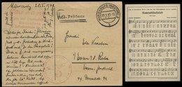 WW II DR Feldpost Postkarte Mit Kameradschaftslied: Gebraucht Marienburg Westpreussen - Essen Ruhr 1941, Bedarfserhalt - Germany
