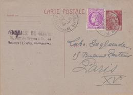 CARTE ENTIER 1948 TYPRE MARIANNE DE GANDON  3F50 ROUGE  GUIGNES RABUTIN S/ET M - Postwaardestukken