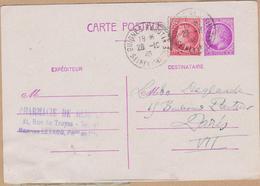 CARTE ENTIER 1946 TYPE  CERES DE MAZELIN 1F50  LILAS  GUIGNES RABUTIN S/M - Postwaardestukken