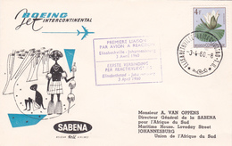 1er Vol Sabena ElisabethVille - Johannesbourg (Congo)  - N° 573A - 1960 - République Du Congo (1960-64)