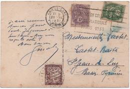 Carte Postale Amiens-gare 1931 Affranchissement Type BLANC 10c + 5c  TAXE Banderole Duval 50c Flamme Expo - Segnatasse