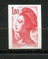 France, Spink/Maury, 2219f**, Liberté 1f80 Rouge Non Dentelé Accidentel Phosphore à Cheval, Signé, MNH - Variétés: 1980-89 Neufs