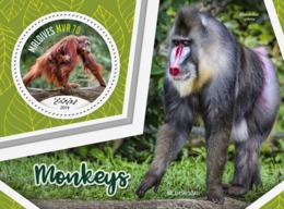 Maldives  2019 Fauna Monkeys  Orang Utan ,  Mandrill  S201907 - Maldives (1965-...)