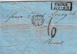 Lettre En Allemand De Thorn Pour Reims, Cachet Noir D'entrée De Prusse à Erquelines - Allemagne
