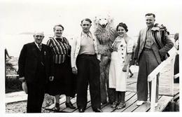 Carte Photo Originale Déguisement & Eisbär, Ours Blanc Polaire & Groupe Familial Sur Les Planches En Bord De Mer 1940's - Anonymous Persons