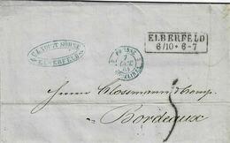 Lettre En Allemand De Elberfeld Pour Bordeaux, Cachet Bleu D'entrée De Prusse à Erquelines - [1] ...-1849 Préphilatélie