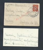 PORTUGAL LETTRE SUR TIMBRE AVEC PETITE CARTE ECRITE DE GUARDA : - Lettres & Documents