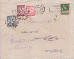 Lettre SUISSE 1929 Correctement Affranchie Tarif Intérieur Réexpédition UPU > France TAXE SIMPLE Composition BANDEROLE - Segnatasse