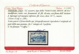 SVIZZERA SWITZERLAND SUISSE SCHWEIZ HELVETIA 1928 Veduta Monte Rütli 5fr ** MNH UNIF.230 Cert Caffaz - Nuovi
