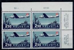 SVIZZERA SWITZERLAND SUISSE SCHWEIZ HELVETIA 1947 Air Mail Block Of 4  2,50fr ** MNH UNIF.A41 - Nuovi