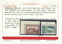 SVIZZERA SWITZERLAND SUISSE SCHWEIZ HELVETIA 1930 31 Vedute 3 + 10fr ** MNH UNIF.244 245 Cert Caffaz - Neufs