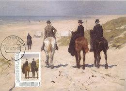 D37880 CARTE MAXIMUM CARD 2010 NETHERLANDS - HORSES - MORNING RIDE ON THE BEACH BY ANTON MAUVE CP ORIGINAL - Arts