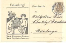 Reich Einladung Weck' Konserven-Glaser U.  Weck' Sterilisier-Apparate  Postkarte 1919 - Deutschland