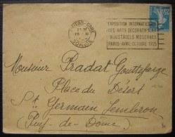 Amiens Gare 1915  Lettre Avec Oblitération Exposition Arts Décoratifs - Poste Ferroviaire