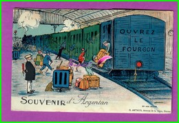 CPA (61 Orne) - ARGENTAN - Souvenir Carte à Système Dépliant Multi Vue   -  Un Train De Voyageur OUVREZ LE FOURGON - Argentan