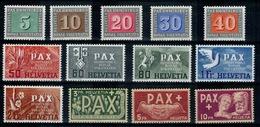SVIZZERA SWITZERLAND SUISSE SCHWEIZ HELVETIA 1945 PAX Cert Sorani ** MNH UNIF405-417 - Nuovi
