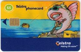 AUSTRALIA B-323 Chip Telstra - Cartoon, Animal, Sea Life, Fish - Used - Australien