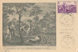 D37893 CARTE MAXIMUM CARD 1946 FRANCE - LES VENDANGES GRAPE WINE - POSTMARK FÊTES DE LA VIGNE CP PHOTOCARD - Wijn & Sterke Drank