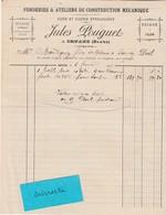 Facture + Traite 1897 / Jules POUGUET / Fonderie Scierie / 25 Ornans Doubs - France