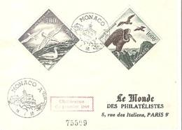 MONACO Lettre 1er Jour 1955 Poste Aérienne Les Oiseaux Albatros Et Cormoran - 028 - Lettres & Documents